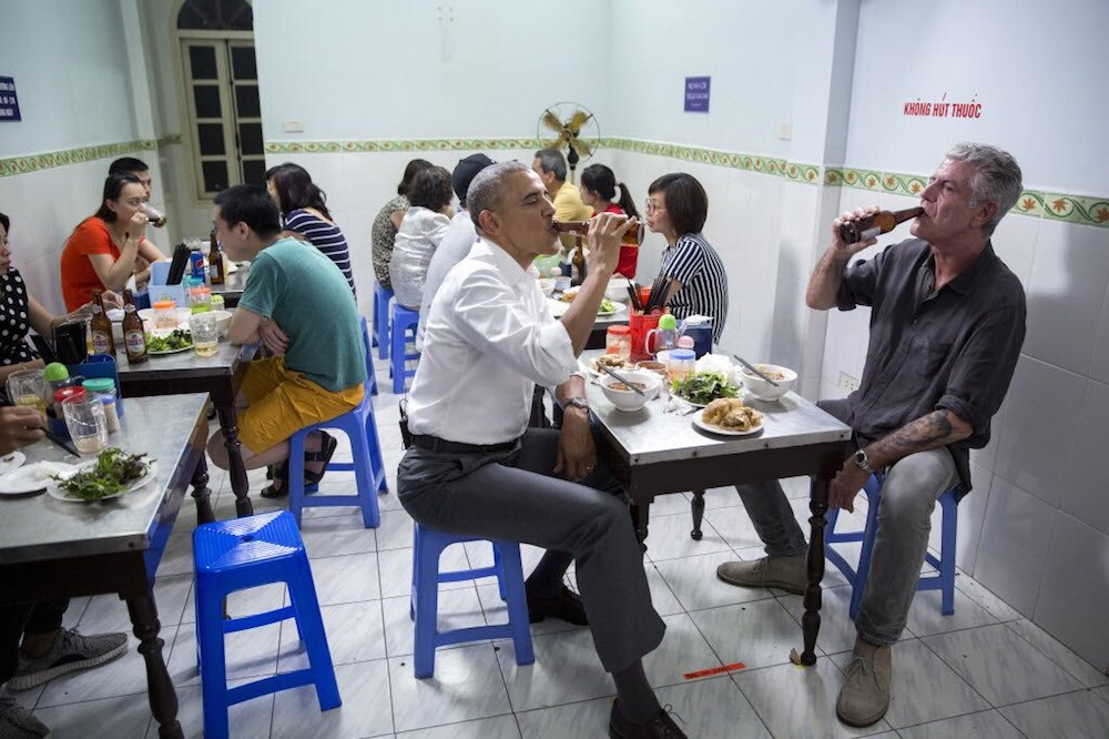Barach Obama and Anthony Bourdain in Hanoi, Vietnam